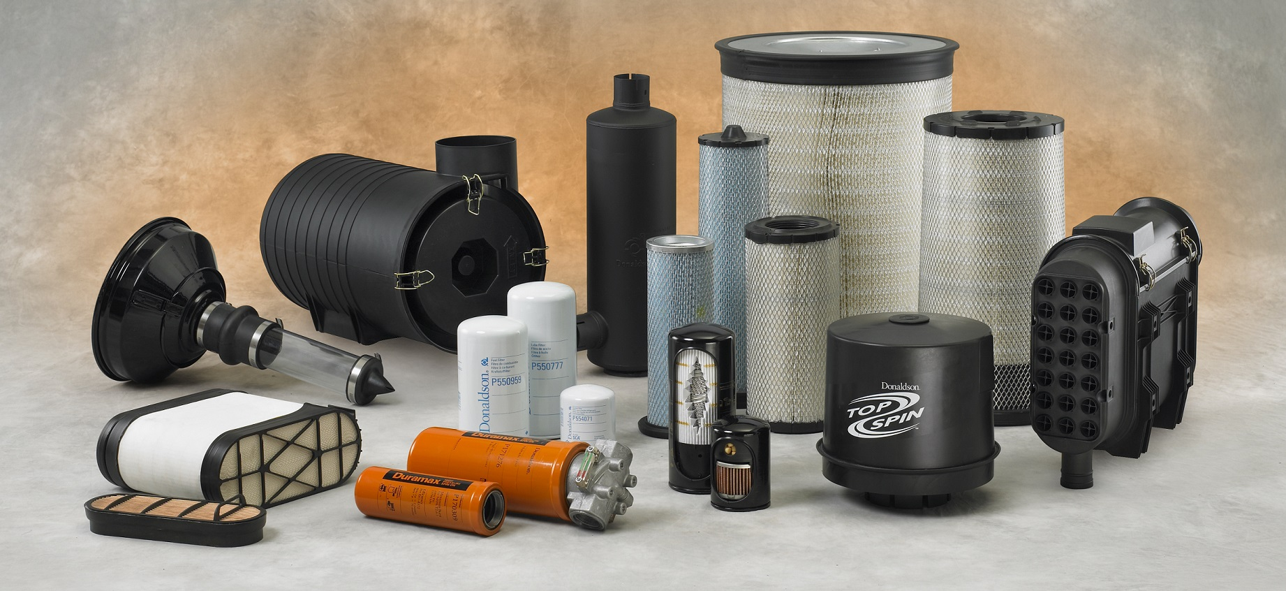 Group of Donaldson products - air, liquid and exhaust (SRG filter, TopSpin, XRB, Duramax, Muffler, liquid filters)